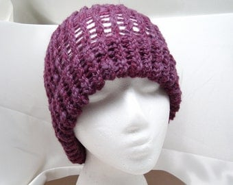 Purple Corriedale Loom Knit Hat with Brim