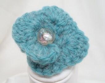 Sea Foam Crocheted Flower Pin
