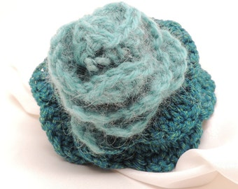 Crocheted Green Flower with Pin Back
