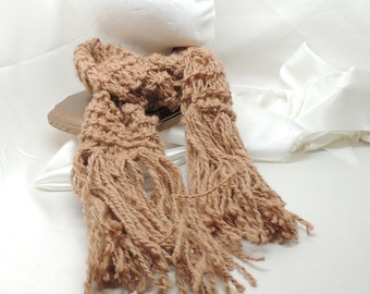 Pure Camel Down Hand Knit Fringed Scarf