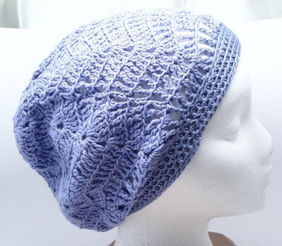 Crochet Lacy Beret Lilac Purple Lavender Slouchy Hat Cap