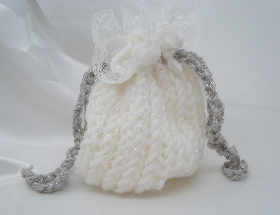 Sparkling White Loom Knit Bag with Lace Trim