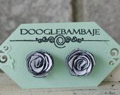 Aspen Rose Design- Classy Black and White Fabric Rose Earrings- Dainty Rose - Classy Line