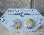 Lily Grey Vine Design- Grey Yellow White, Flower/Swirl Fabric Button Stud Post Earrings - Wedding- Enchanted Line