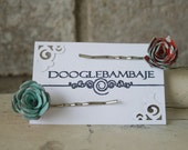 Minty Rouge Polka Dots Design- Cool Spearmint Mint Green Aqua & Rouge Red Orange - White Dots Fabric Rose Hair Bobby Pins- Wedding