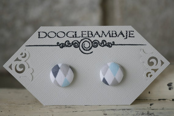 Dashing Diamonds Design-  Sky Blue, Light Grey, Charcoal Gray, and White Fabric Button Earrings- Classy Line