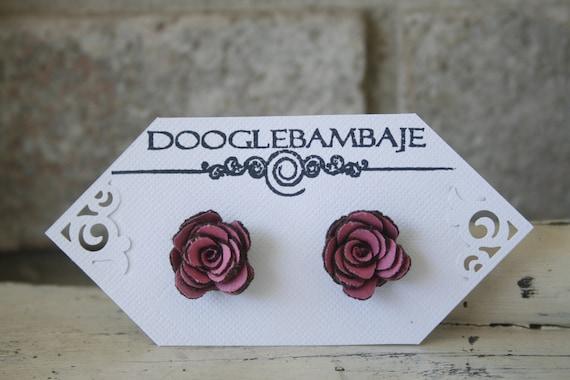 Mini Rosie Rust Design- Dark Pink and Brown Corduroy Fabric Rose Flower Earrings Wedding Bridesmaid Gift- Dainty Rose - Classy Line