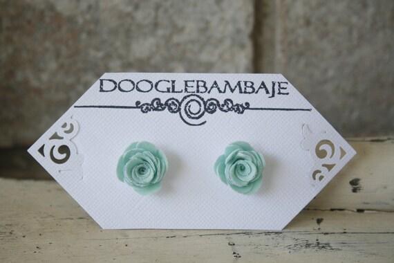 Mini Frosty Fresh Mint Design- Cool Mint Green Spearmint and Frosty White Fabric Rose Flower Earrings Wedding- Dainty Rose - Classy Line