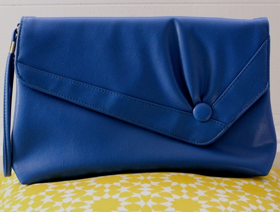 Vintage Blue Envelope Clutch by Almondo Originals