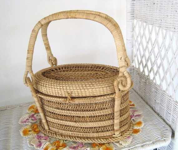Vintage Hand Woven Basket Purse, Cane Basket Handbag, Cane Basket