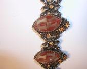 "Costume Jewelry Bracelet and Earring 2D diamond shaped  acrylic ""stones"" Burnt Orange"