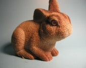 Bunny Rabbit Coin Bank - Flocked Plastic