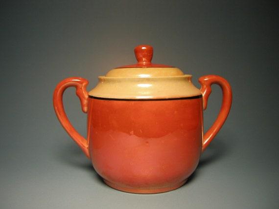 Lusterware Sugar Bowl - Orange/Yellow/Black