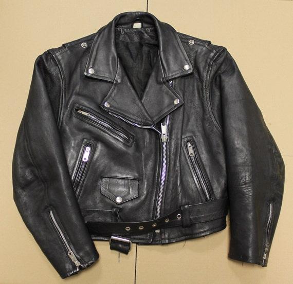 Free shipping - vintage classic black leather motorcycle rocker jacket