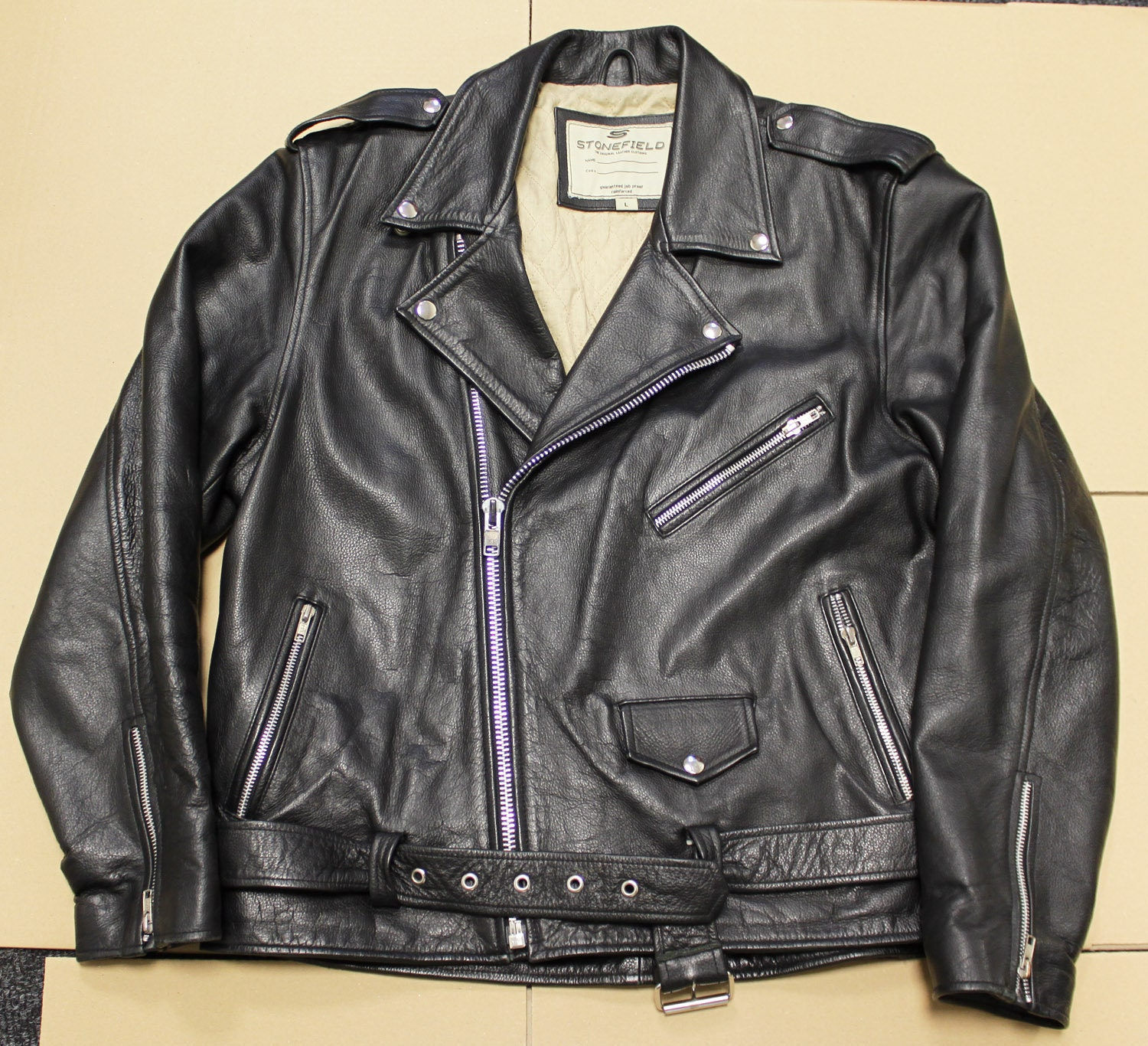 Classic style black motorcycle rocker punk leather jacket