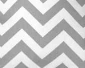 "50"" x 96"" Curtain Panels, Set of Two Window Treatments: Grey and White Chevron Zig Zag Decorator Fabric"