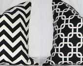 Two Pillow Covers: Black and White Chevron Zig Zag & Gotcha Lattice