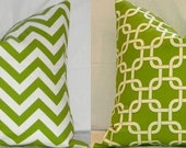 Set of Two Christmas Pillow Covers : Chartreuse and White Chevron AND Gotcha Lattice Fabrics, Both Sides