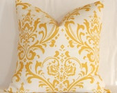 "Pillow Cover - 16"" x 16"" Pillow Cover: White and Yellow Traditional Damask Accent Pillow Cover Throw Pillow Cover"