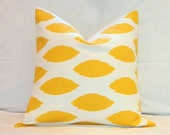 RESERVED for Kim... Two 20 x 20 Pillow Covers: Yellow and White Chipper