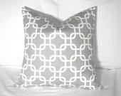 Pillow Covers - Two 18 x 18 Grey White Gotcha Lattice Pillow Covers Grey White Lattice Pillow Covers Decorator Throw Pillows Accent Pillows