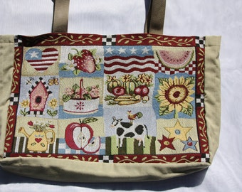 americana, folk art, tote bag, up-cycled - sunflower, cow, birdhouse, watermelon, flags