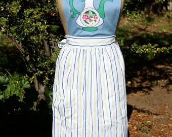 Appliqued tea pot apron, blue and striped