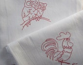 Redwork Towels Set of Two