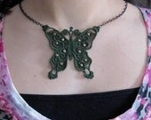 Butterfly Necklace Green Lace