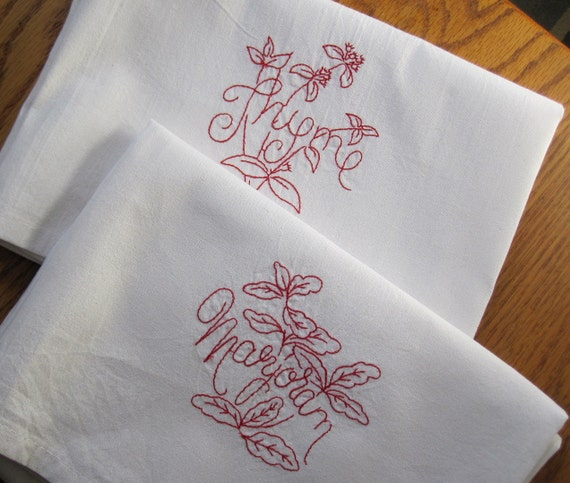 Red Work Flour Sack Towel Set of Two