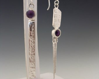 Assymetrical Sterling Silver Earrings with Amethysts and Chinese Writings