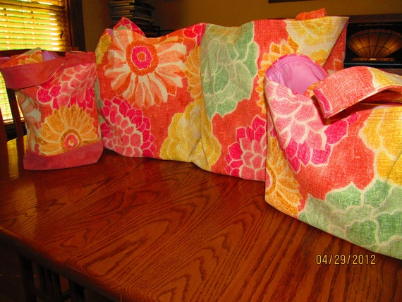 Market Bags, Reusable Grocery Bags, Lined, Set of 4, Beautiful, Bright, Sunbrella Fabric
