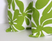 TWO 18 x 18 Pillow Covers Chartreuse Green Twirly Flowers. Premier Prints - Decorator Pillow Covers