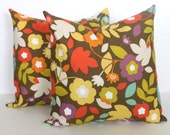TWO 18 x 18 Brown and Turquoise Flowered Pillow Covers - Decorative Pillow Covers