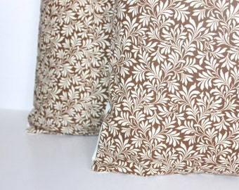 CLEARANCE // ONE - 16 x 16 Brown and Cream Ivy Pillow Cover