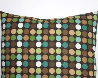 CLEARANCE - 18 x 18 Brown and Turquoise Polka Dot Pillow Cover - Decorative Pillow Covers
