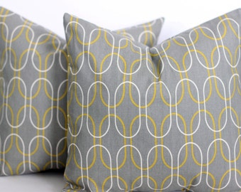 CLEARANCE - 20 x 20 Grey and Yellow Geometric Pillow Cover - Premier Prints
