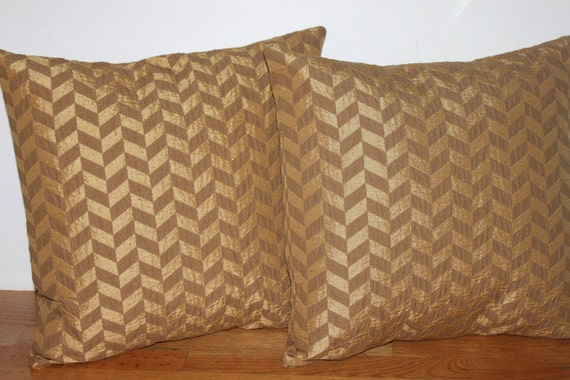 Back to School SALE - TWO 18 x 18 Gold and Brown Chevron or Zig Zag Pillow Covers - Decorative Pillow Covers