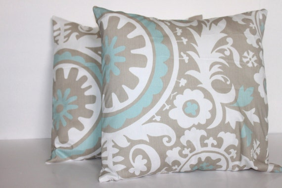 TWO 16 x 16 Pillow Covers Suzani Twill Powder Blue and Grey - Decorator Pillow Covers