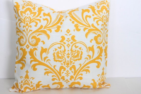 20 x 20 Pillow Cover Yellow Damask. Premier Prints  - Decorator Pillow Covers