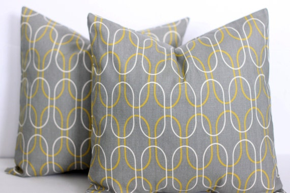 TWO 20 x 20 Pillow Covers Grey and Yellow Geometric Print. Premier Prints - Decorator Pillow Covers