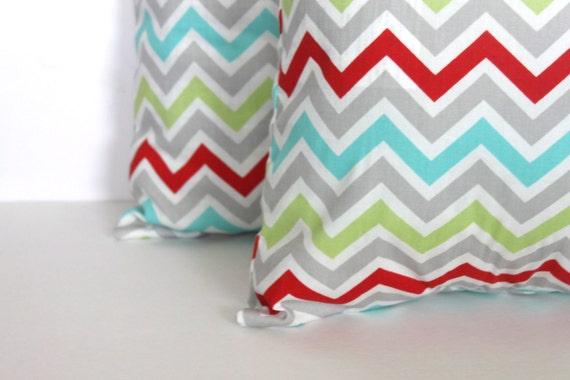 ONE - 20x20 Grey Multi Colored Zoom Zoom Chevron Pillow Cover - Premier Prints