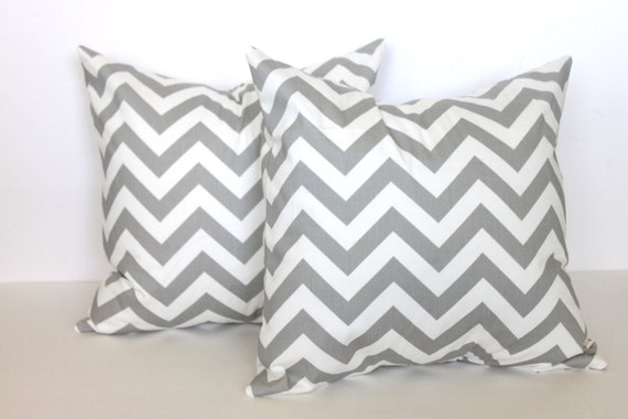 ONE - 18 x 18 Grey and White Chevron Pillow Cover - Premier Prints