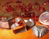 Vintage Tin Heart Cookie Cutters and Molds Lot of Five