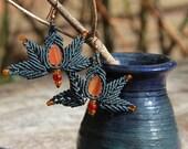 Boho Tribal Romantic Agate macrame earrings