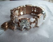 Vintage marked Mariana Expansion Bracelet with Rhinestones and Heart Charm