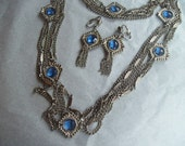 Vintage marked Lisa Necklace and Clip Earrings Set
