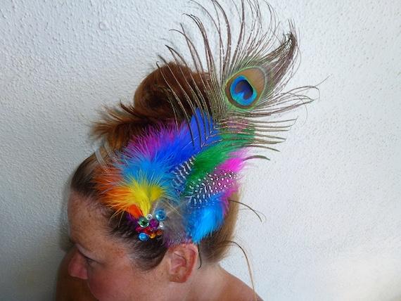Rainbow Peacock Feather Festival Unique Bridal Bohemian Headband Hairpiece
