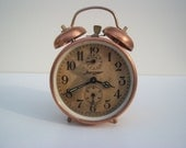 Antique alarm clock-Rare copper alarm clock- Retro home decor- Chic Vintage bells-Made in Germany by Jerger
