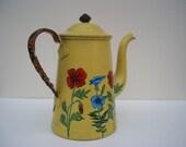 Beautiful Vintage Yellow TEA pot -Marvelous flower design-Stylish home decor or kitchen decor-